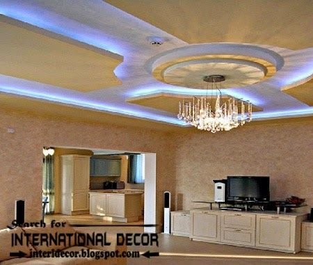 Fantastic Living Room Idea With Blue Hidden Ceiling Lights Paint Color And L Shaped Creamy Sofa Completed Small TV LCD Romantic Pendant Lamps Also