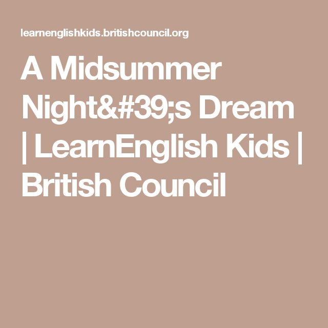 A Midsummer Night's Dream | LearnEnglish Kids | British Council
