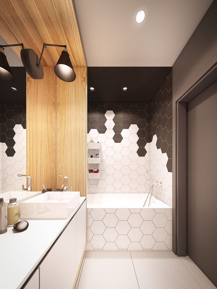 Modern Bathroom   A Seductive Home With Lush Colors And Double Baths  Hexagon Shower Wall Tile