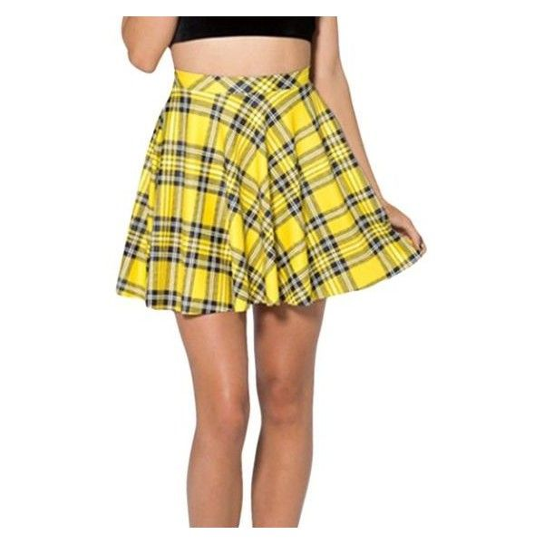 Yellow Vintage Ladies Sexy Plaid Fashion Pleated Skirt ❤ liked on Polyvore featuring skirts, tartan pleated skirt, yellow tartan skirt, vintage skirts, yellow skirt and sexy skirt