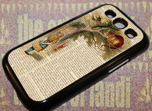 Cheshire cat alice in wonderland, Samsung Galaxy S3 Black Rubber Case