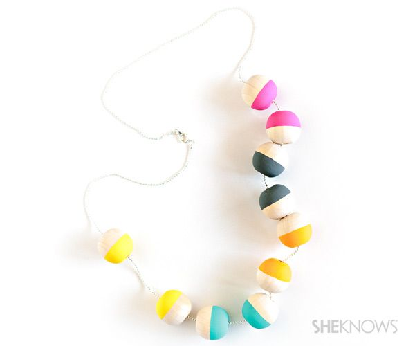 Add some flair with a DIY painted wood bead necklace