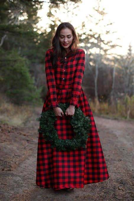 Snow Ball Maxi Buffalo Plaid Skirt by Shabby Apple