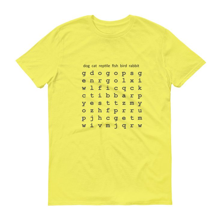 Animals Pets Word Search Puzzle Mens Short sleeve t-shirt Tee