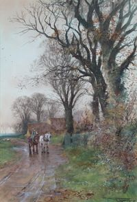 "Lot No 531 H C Fox, watercolour, a rural study of shire horses and rider on a country lane with geese and distant buildings, signed 21"" x 15"", sold for £440"