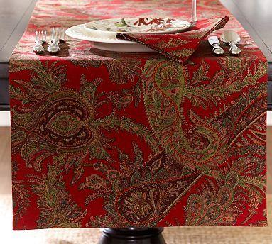Caroline Paisley Table Runner Holiday Tablecloths