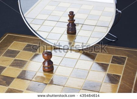 Pawn seeing himself in the mirror as king