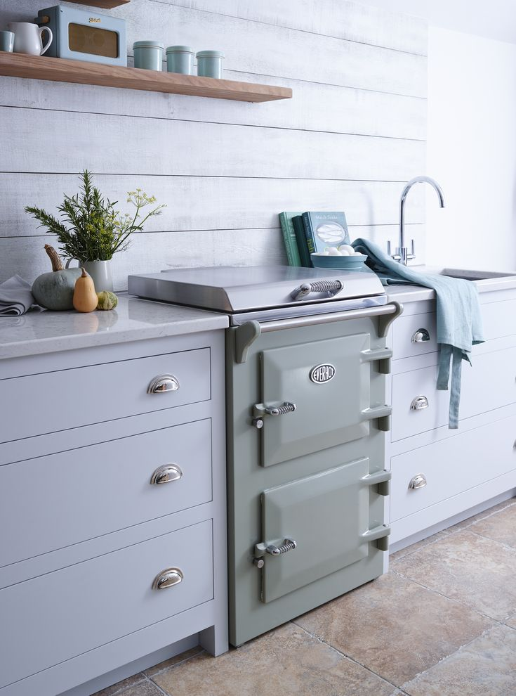 New mini-range cooker from Everhot in Sage Units by Unfitted Kitchens