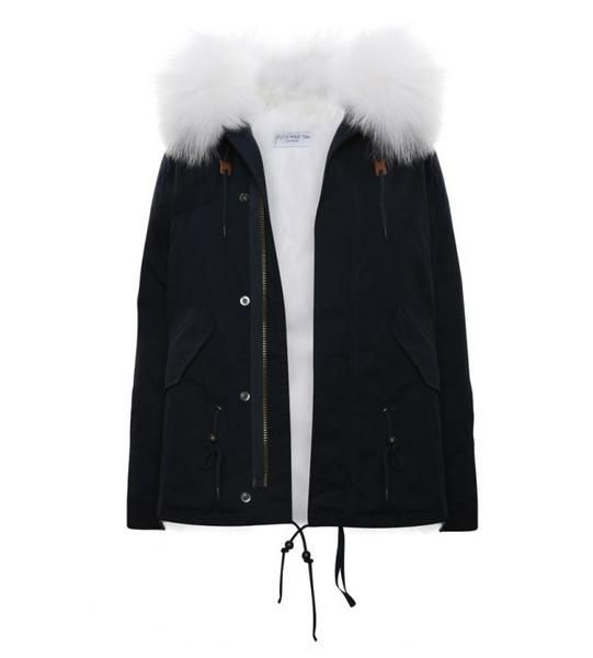 Navy Parka With White Fur Hood