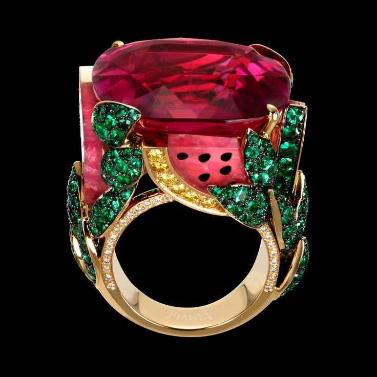 """Piaget """"Watermelon"""" ring in yellow gold set with white and yellow diamonds, emeralds, rubellite and black onyx. Limelight Cocktail collection"""
