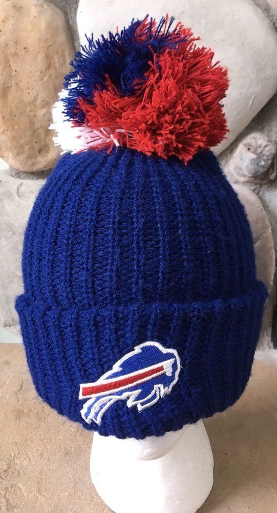 22016710 Vintage 90's Buffalo Bills Pom Hat Winter Knit Cap Blue One Size Old ...