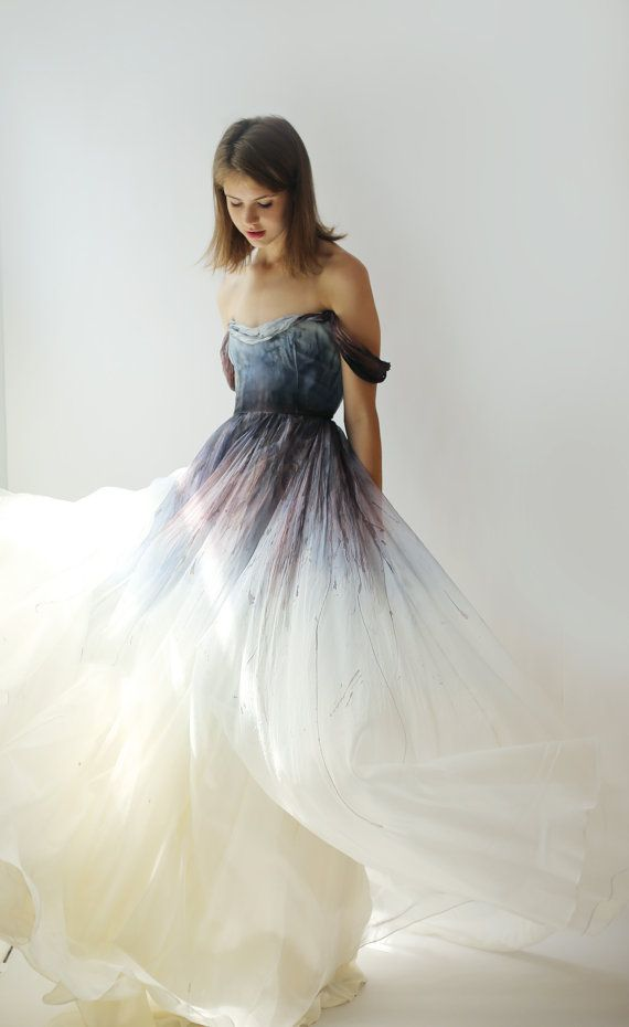 SALE - hand-painted and dyed silk organza gown