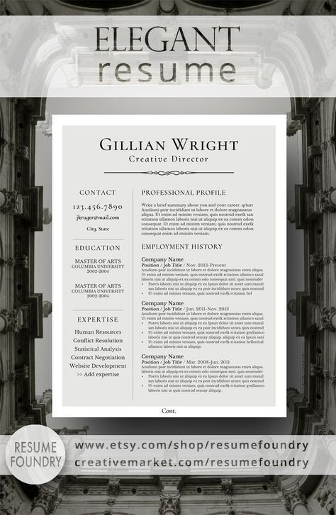 Elegant Resume Design that organizes your information so that it is eye-catching and easy to understand. Compatible with Mac/PC, use with MIcrosoft Word.