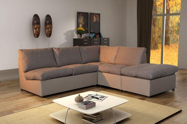 Modern Sofa - Canapé d'angle modulable Avanti taupe Tissu Achat / Vente Canapés Tissu pas chers - RueDuCommerce
