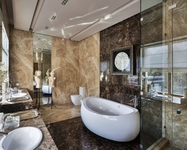 Contemporary Master Beige Tile And Brown Tile Brown Floor Bathroom Idea With A Two Piece Toilet A Drop In Bathtub Design Master Bathroom Design Bathroom Design