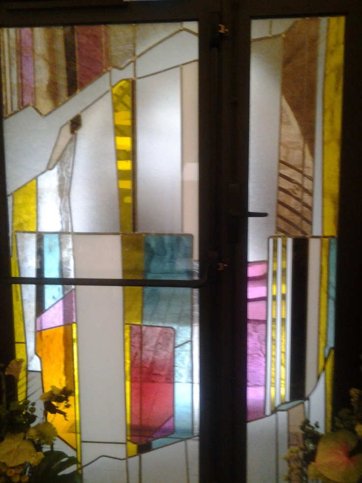 stained glass doors in the Mandrigore restaurant, Terrasson, France