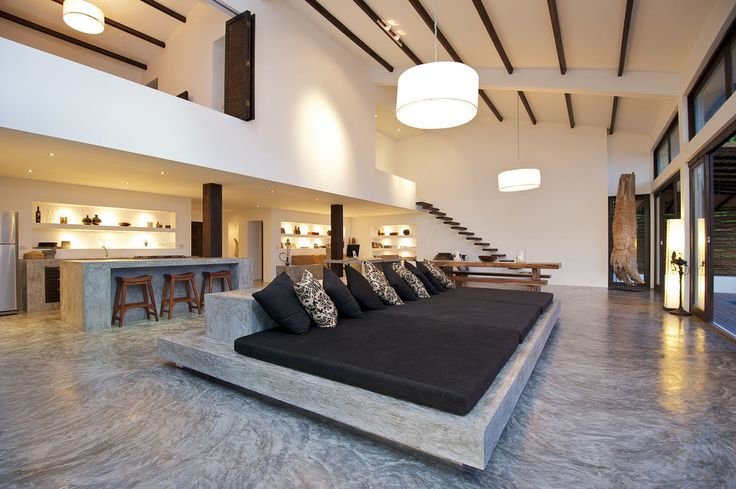 Villa of the Rising Sun / Residence Design with Traditional Elements in Tropical Design : Sleeper Sofa Design Idea Enlightened By Drum Inspired Chandelier Ideas Installed Orderly Along Beams Ceiling
