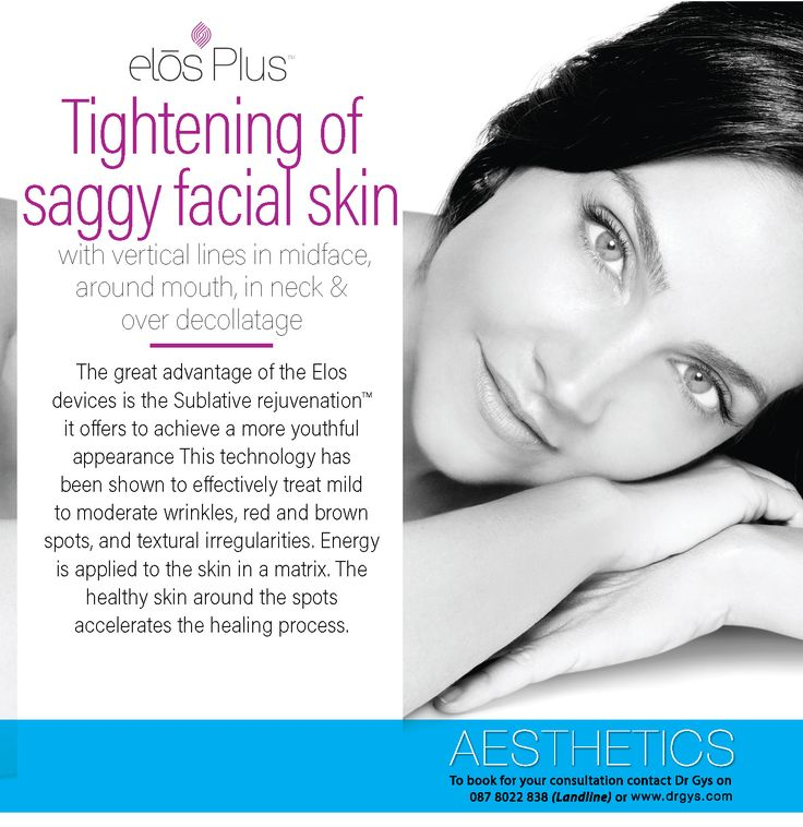 Tightening of saggy facial skin with vertical lines in midface, around mouth, in neck and over decollatage The great advantage of the Elos devices is the Sublative rejuvenation it offers to achieve a more youthful appearance This technology has been shown to effectively treat mild to moderate wrinkles, red and brown spots, and textural irregularities. Energy is applied to the skin in a matrix. The healthy skin around the spots accelerates the healing process. For more information or bookings…