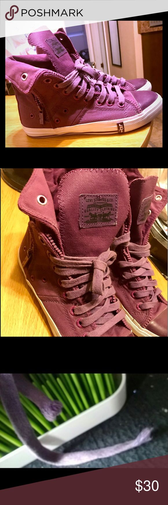 💜Purple Hi-Top Levi's Sneakers💜 Purple/Plum colored Hi-Top Levi's sneakers. Super stylish, zips on the sides. Women's size 7.5. Willing to give discounts for bundles. Always ships fast! Will clean well before shipping. Levi's Shoes Sneakers