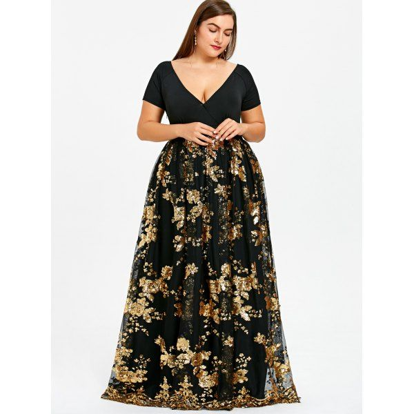911d9416fc Plus Size Floral Sparkly Maxi Prom Dress in 2019 | Convention dress ...