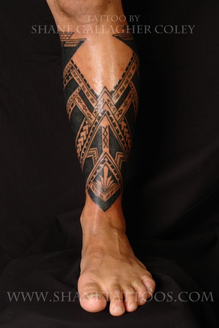 Calf tattoo, not very often I find one that I like, but this one is well designed to fit symmetrically with the area.