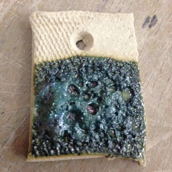 Category: Glaze, Green, Copper, Author: Tessa Eastman, Notes: Apply thickly for larger craters. Works well brushed. Can dip or pour but wouldn't recommend spraying due to silicon carbide getting stuck in gun. Best to use fine silicon carbide. Clay body used: Potclays white grogged