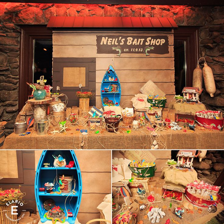 wedding candy station, fishing theme, groom candy station, candy station, fishing, bait shop, cute candy station #candytable #weddings #sweets #gonefishin