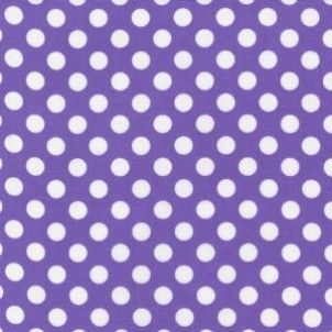Robert Kaufman Spot On - White On Violet 8mm Polka Dot