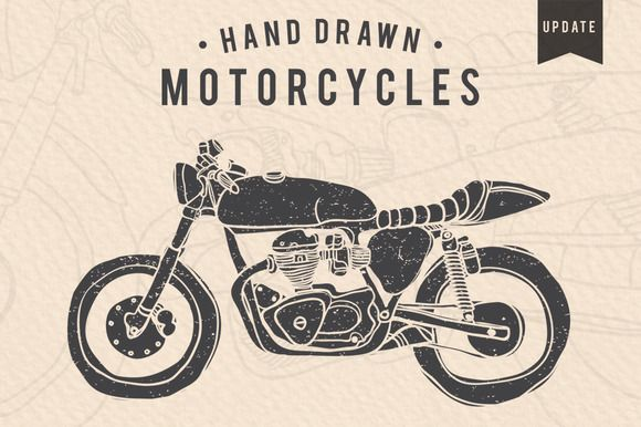 Vintage Hand-drawn Motorcycles by dreamwaves on @creativemarket