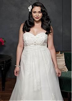 Elegant Tulle & Satin Sweetheart Neckline Empire Waistline A-line Plus Size Wedding Dress With Beaded Lace Appliques