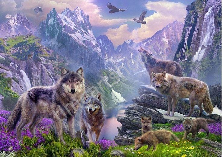 Волчья стая в горах, картина раскраска по номерам, картина своими руками, размер 40*50см, цена 750 руб.