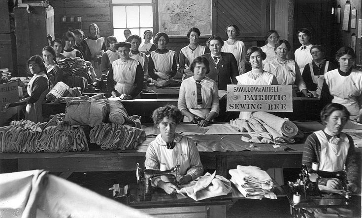 Swallow & ariell biscuit factory - patriotic sewing bee, 1916. Port Melbourne, (Uni Melb.)