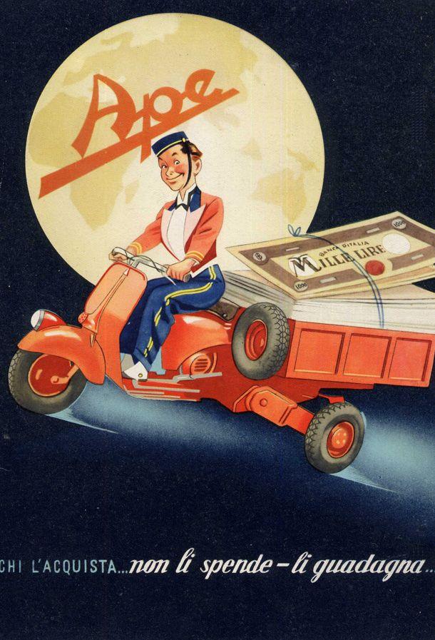 Vintage Italian Posters ~  #Italian #vintage #posters ~ The Piaggio Ape   Vintage Italian Motor Design