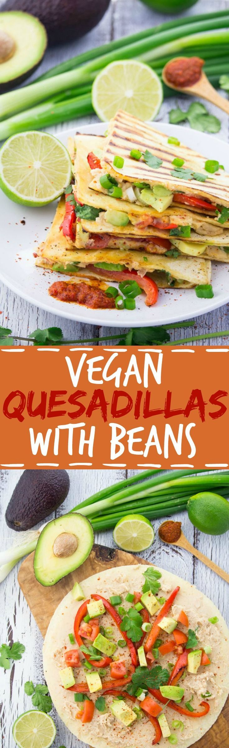 These vegan quesadillas are packed with flavor, minus all the fat from cheese! They're made with white beans and get their cheesy taste from nutritional yeast and miso paste.#vegan #food #quesadillas