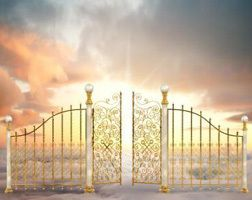 A pretty scene to heaven with the gate there and the doors are open.