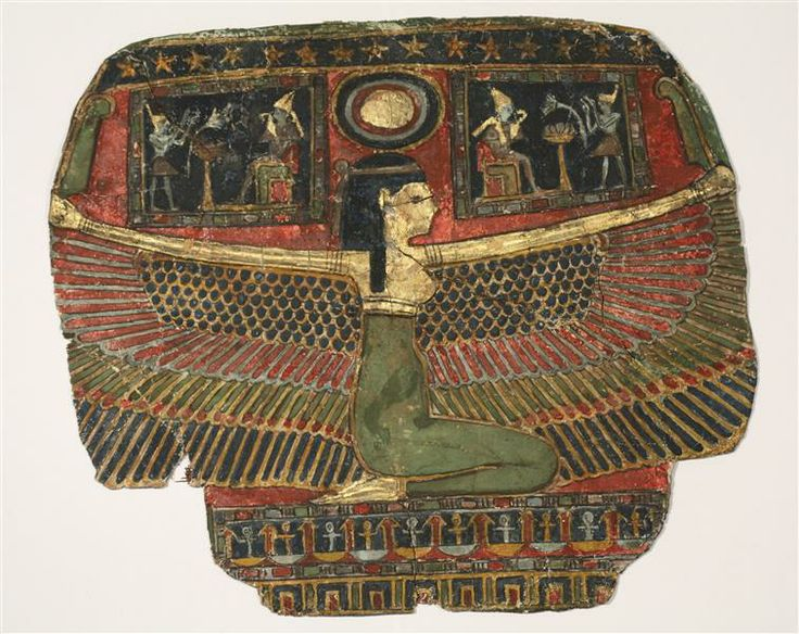 Mummies piece of evidence: Chest with jewelry winged goddess Nut Late Period, Greco-Roman period