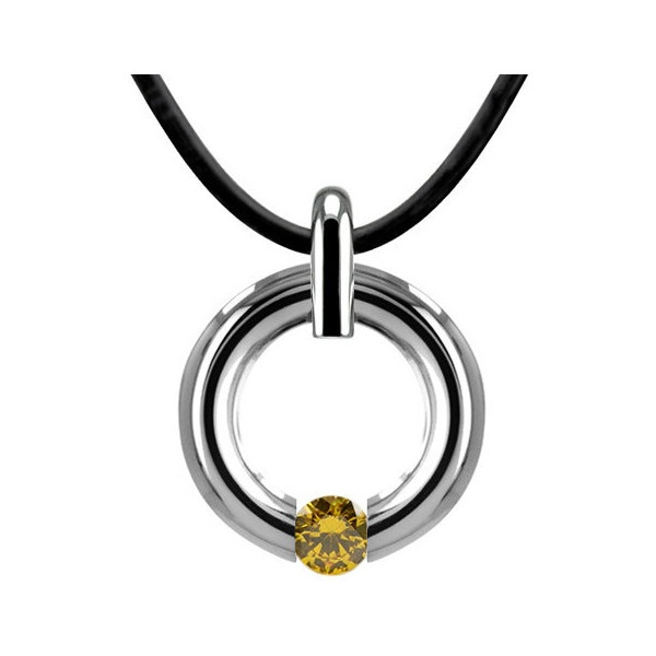 Yellow Topaz Two Tone Tension Pendant Stainless by TaorminaDesigns ($195) via Polyvore