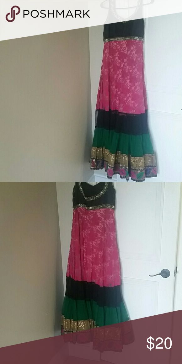 Indian anarkali dress Long anarkali dress worn just 1 time beautiful color combination 36 in size (indian) Dresses Maxi