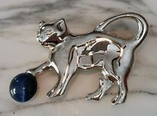 Silver tone Adorable Kitty Cat Playing with Faux Lapis Brooch Pin