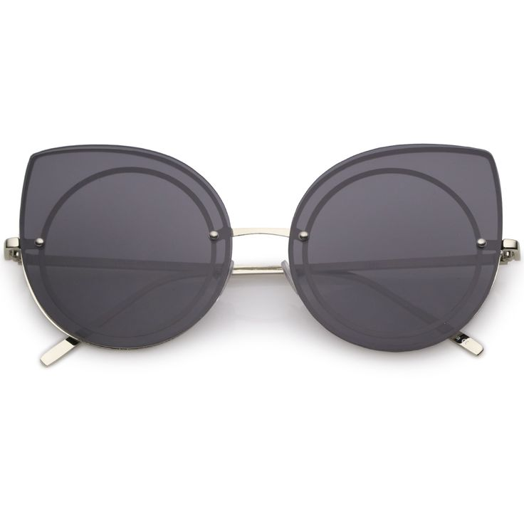 Women's Oversize Rimless Round Outline Cat Eye Sunglasses C203