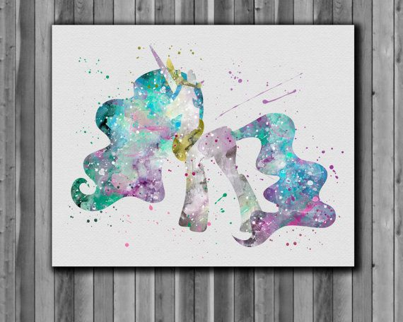 Pony princess Celestia, My Little Pony poster - Art Print, instant download, Watercolor Print, poster