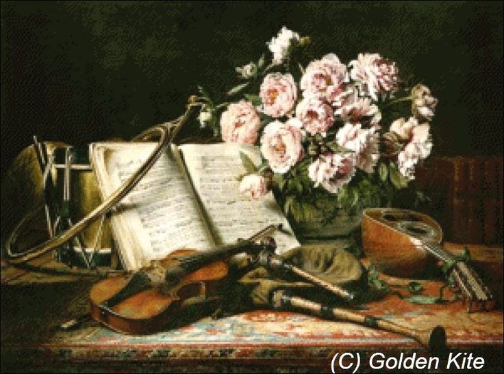 Music still life with peonies - Solid colors