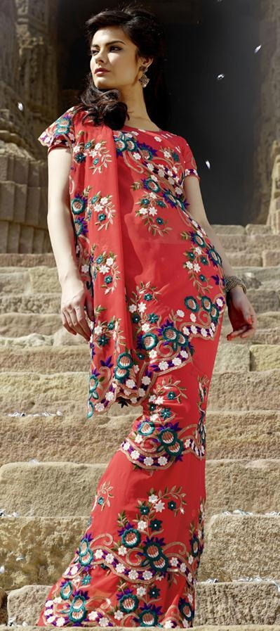 $89.93 Red Faux Georgette Resham and Cut Work Party Wear Saree 24123