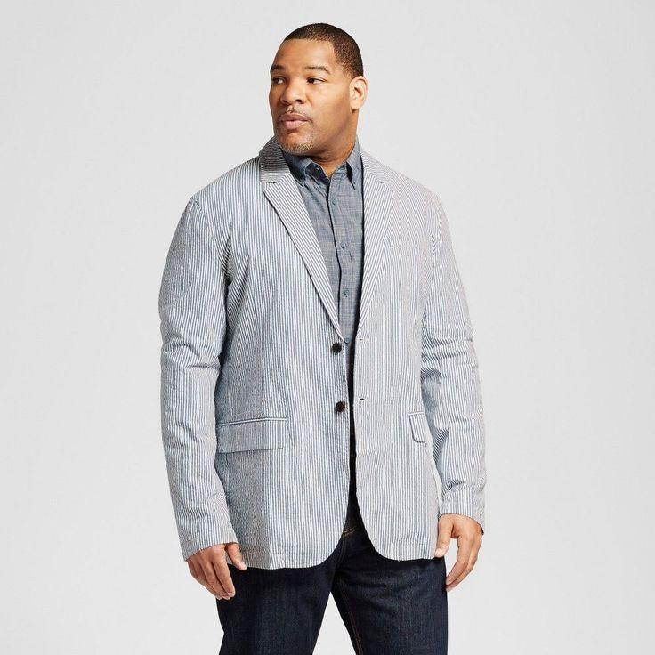 Men's Big & Tall Seersucker Blazer Blue 2XBT - Merona