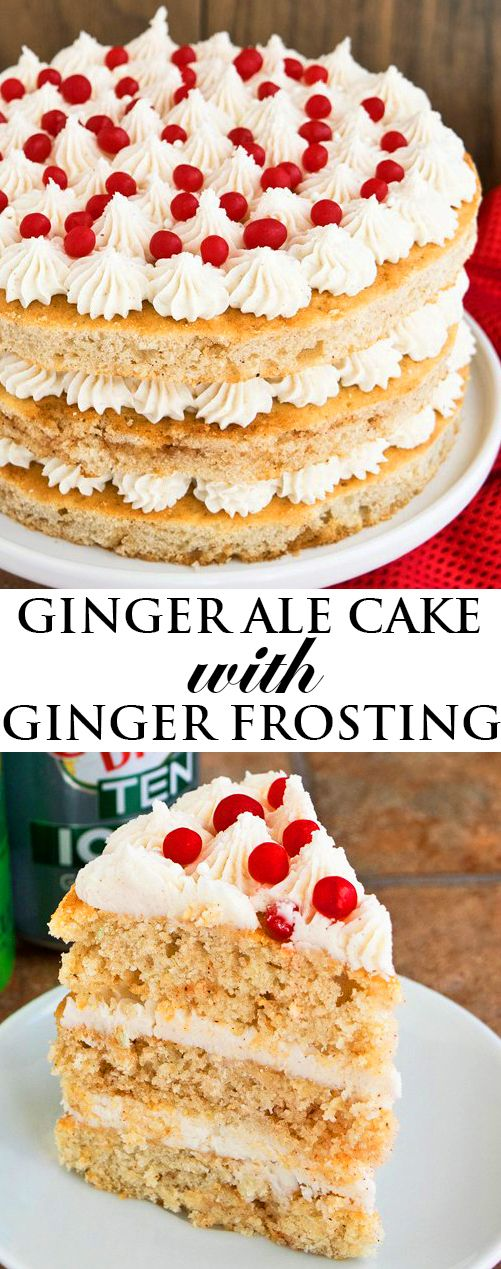 This soft and moist GINGER ALE CAKE is made with lots of fresh ginger and ginger ale. This layer cake is easy to make would be a great dessert for Christmas and the holiday season! {Ad} From cakewhiz.com