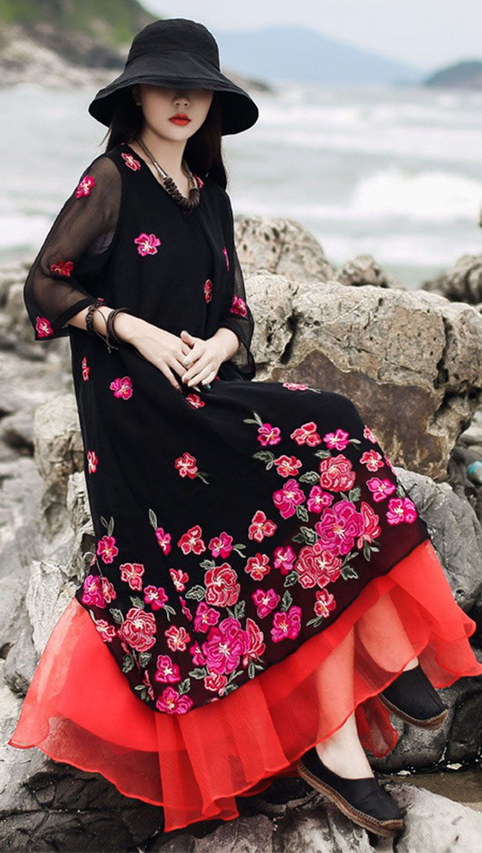 Modern O Neck Layered Tulle Cotton Linen Black Print Dresses Summer Summer Dresses Printed Summer Dresses Chiffon Summer Dress [ 1239 x 700 Pixel ]