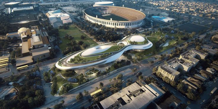 MAD just released images of the new plans for George Lucas's Museum of Narrative Art, which should find a home in both Los Angeles and San Francisco. The first is for a site on Treasure Island, in San Francisco Bay, while the second is for Exposition Park in Los Angeles, where it would sit near the Natural History Museum and Coliseum. The Lucas Museum is still undecided on a final location after the local population rejected a Chicago plan.
