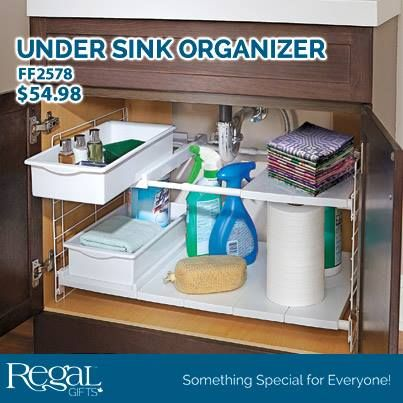 "UNDER SINK ORGANIZER  Double tier design features adjustable height and width to create a truly customized storage solution. It even expands and contracts to fit around sink pipes! Includes two sliding drawers. Easy assembly - no tools required! Made from durable polypropylene and steel. 15-1/2""W x 15-1/2""H and expands from 16-1/2"" to 27-1/2""L"