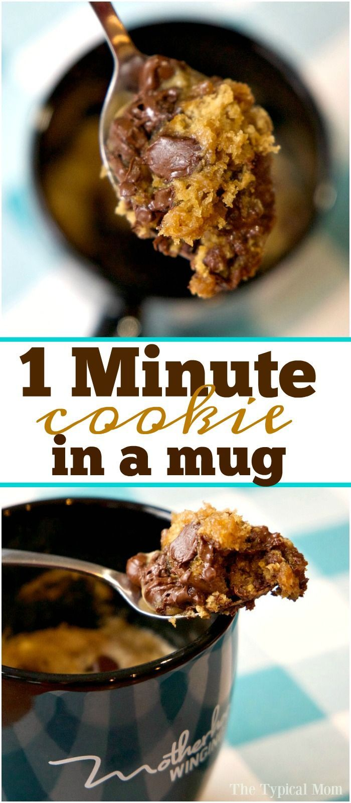 Chocolate chip cookie in a mug that just takes one minute and it's done! Perfect cookie for one when you just want a little something sweet at night. via @The Typical Mom