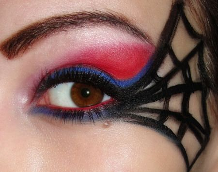 Spiderman makeup---to wear when I go trick or treatin gwith my Spiderman son for halloween. He wants me to do something spider-y...this could be it..hmm